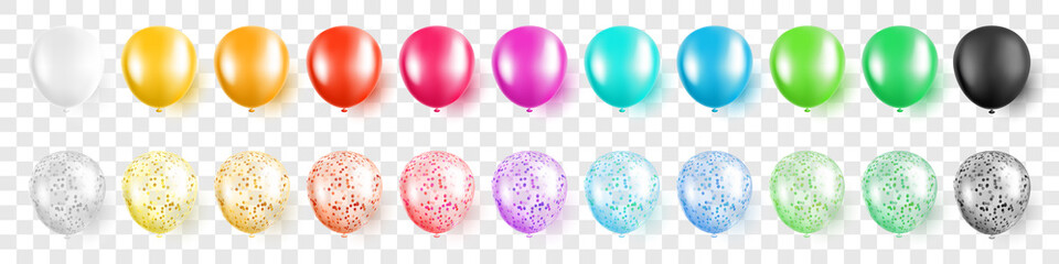 Colorful party balloons with confetti set on transparent background isolated vector illustration