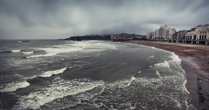 Biarritz beach on a cloudy day in Pays Basque, France