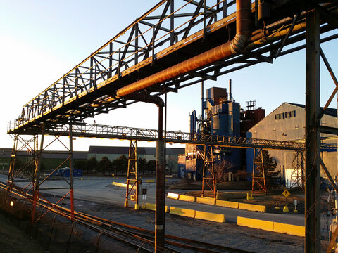 Empty Bankrupt Closed Steel Mill Factory in Industrial Area
