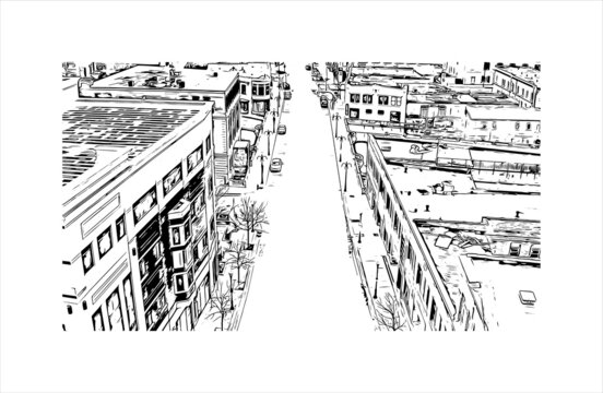 Building view with landmark of Aurora is a city in DuPage, Kane, Kendall, and Will counties in the U.S. Hand drawn sketch illustration in vector.