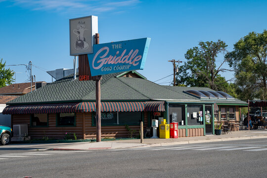Winnemucca, Nevada - August 5, 2020: Retro neon sign for The Griddle restaurant in the downtown area