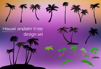 ヤシの木と無人島のシルエット他ハワイ・南国のデザイン素材