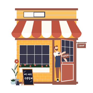Opened the store with small business man owner or young employee using apron and hand holds a sign saying we are open on cafe shop or restaurant hang on door at entrance. vector illustration