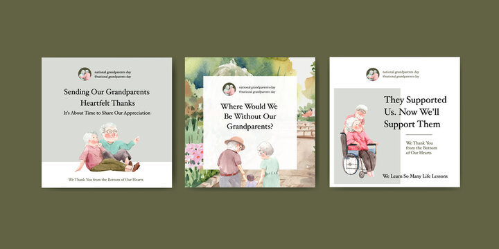 Ads template with national grandparents day concept design for advertise and marketing watercolor vector.