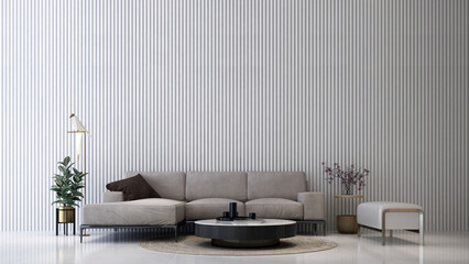 Modern cozy mock up interior design of living room and white tile  pattern wall background
