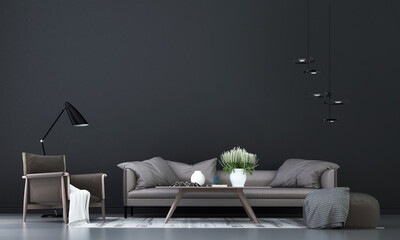 Modern mock up interior design of living room and black pattern wall background