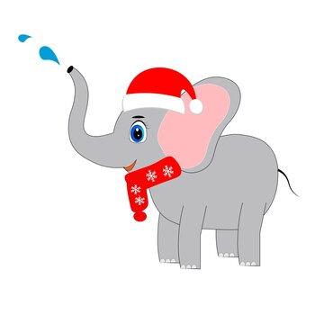 cute christmas animal in santa hat cartoon, character vector illustration