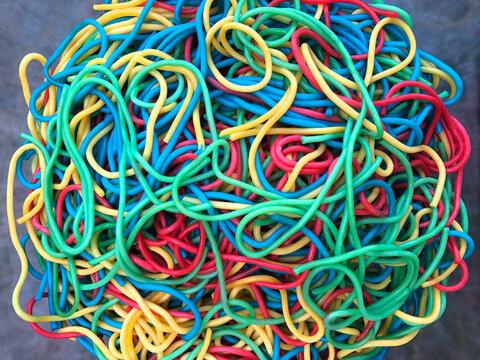 Rainbow coloured spaghetti dinner for kids
