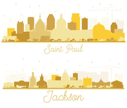 Jackson Mississippi and Saint Paul Minnesota City Skyline Silhouettes Set with Golden Buildings Isolated on White.