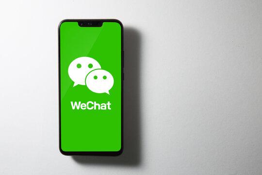 Kuala Lumpur, Malaysia - AUGUST 10, 2020: WeChat logo on screen of Huawei Nova 3i.