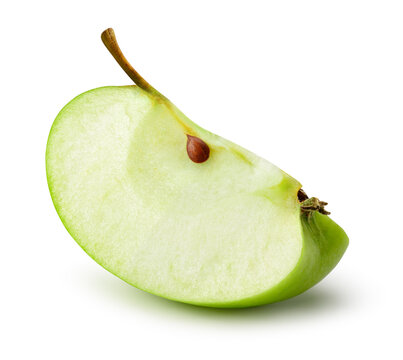 Green apple slice isolate. Green apple on white background. Apple slice with clipping path.