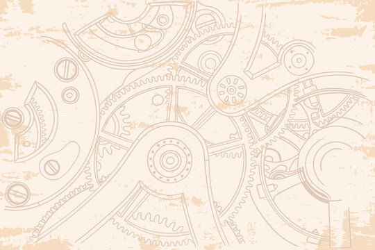 Vintage old beige background with gears from the clockwork.