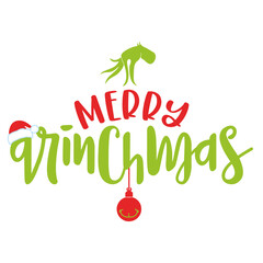 Merry Christmas with Grinch - Calligraphy phrase for Christmas. Hand drawn lettering for Xmas greetings cards, invitations. Good for t-shirt, mug, scrap booking, gift, printing press. Holiday quotes.