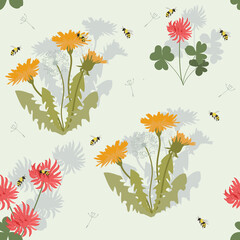 Seamless vector illustration with flowers of dandelion, clover and bees.