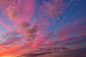 Beautiful sunset clouds background,dramatic cloud and colorful sky