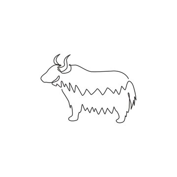 One continuous line drawing of dashing yak for company logo identity. Ox mammal mascot concept for livestock icon. Modern single line draw graphic design vector illustration