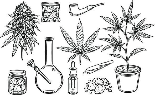 Marijuana outline icons vector set, hemp leaves and seeds, cannabis bud. Smoking cannabis pipe, cigarette, buds indica marijuana, joint, glass jar, tobacco and plastic bag.