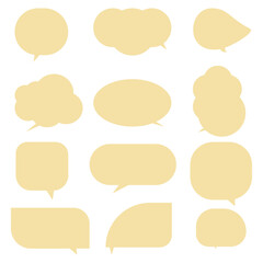 Fototapeta Light brown speech bubbles, isolated on a white background.