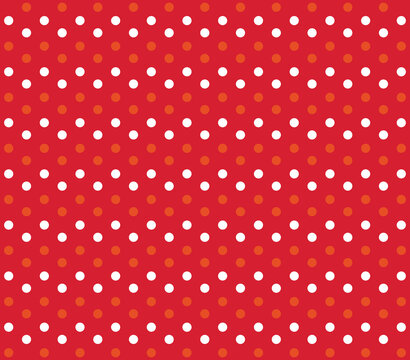 Christmas background. Vector red and yellow polka dot.