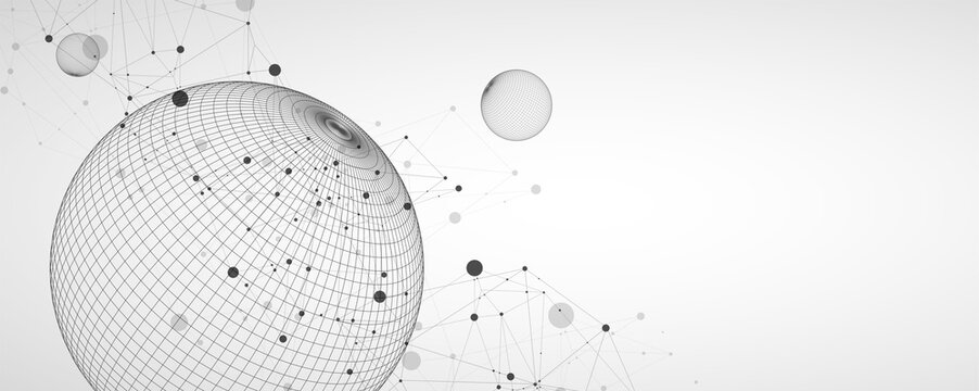 Abstract sphere background with plexus effect. 3D surface. Vector illustration.