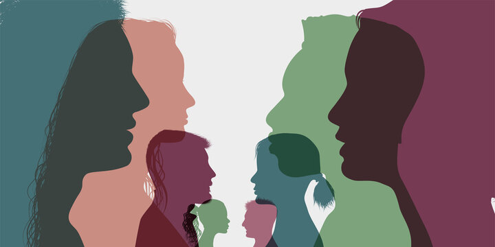 Diversity multi-ethnic and multiracial people. Silhouette profile group of men and women of diverse culture. Concept of racial equality and anti-racism. Multicultural society. Friendship