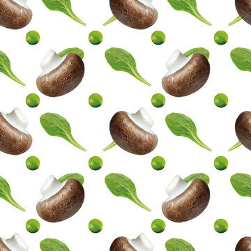 Gemüse, Pilz, Erbe, Salat, nahtloses Hintergrundmuster