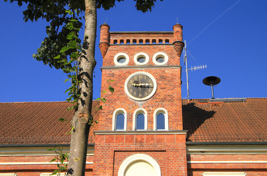 The tower of the old school in garz at island Ruegen, Baltic Sea - Germany