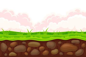 Foto auf Leinwand Braun Game Platform with Uneven Terrain and Environment Vector Illustration