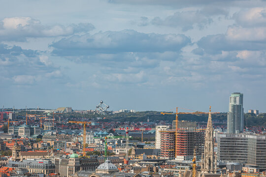 View from above city of Brussels with Atomium in the background