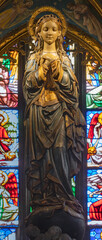 BARCELONA, SPAIN - MARCH 5, 2020: The carved polychrome sculpture of Immaculate Conception in the church Església de la Concepció from 20. cent.