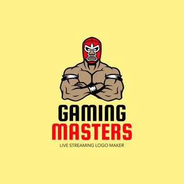 a Wrestler Illustration Mascot Gaming Logo Esport Graphics