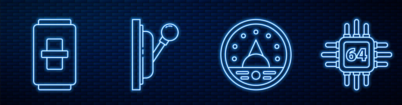Set line Ampere meter, multimeter, voltmeter, Electric light switch, Electrical panel and Processor with microcircuits CPU. Glowing neon icon on brick wall. Vector.