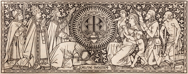 BRATISLAVA, SLOVAKIA, NOVEMBER - 21, 2016: The lithography of Virgin Mary initials in Missale Romanum by artist by unknown astist (1881) and printed by Typis Friderici Pustet.