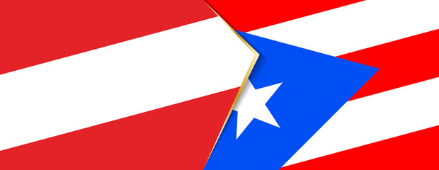 Austria and Puerto Rico flags, two vector flags.