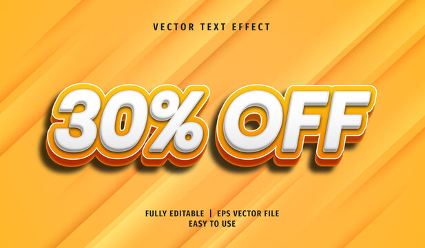 3D 30% Off Text effect, Editable Text Style