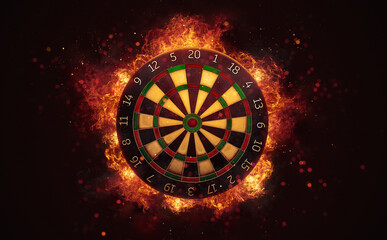 Dart board target in burning flames close up on dark brown background. Classical sport equipment as conceptual 3D illustration.