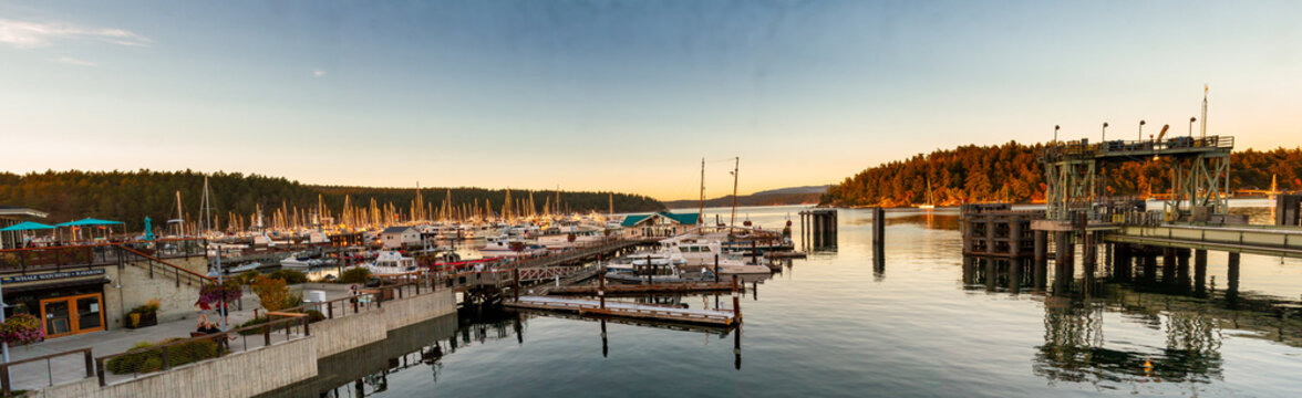 Panorama sunset at Friday Harbor in San Juan Islands, Washington, USA