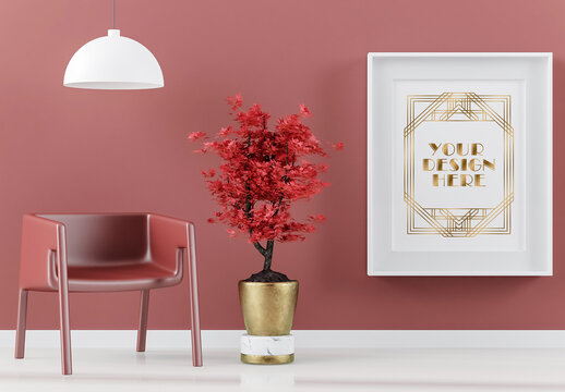 Frame Mock Up on Red Living Room with Bonsai, Lamp and Armchair