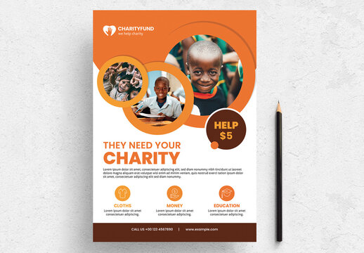 Charity Flyer Layout with Circle Photo Masks