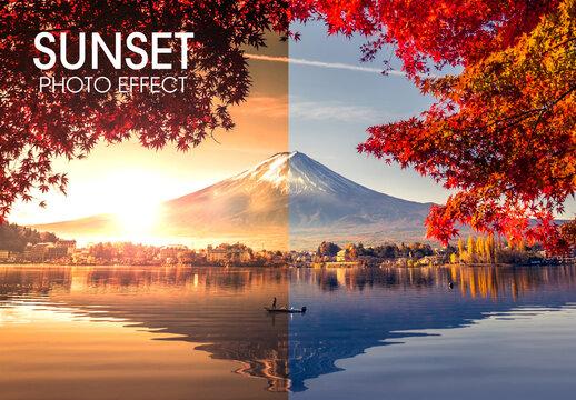 Orange Sunset Photo Effect