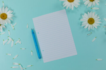 View of a sheet of paper with a pen surrounded by daisies and petals on blue background