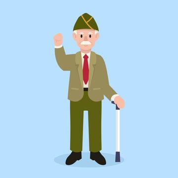 Veterans Day army mascot design illustration