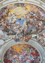 CATANIA, ITALY - APRIL 7, 2018: The fresco of Coronation of Virgin Mary in church Chiesa di San Benedetto by Giovanni Tuccari (1667–1743).