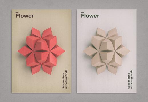 Geometric 3D Flower Art Poster Layout