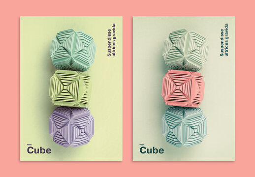3D Cubes Art Poster Layout