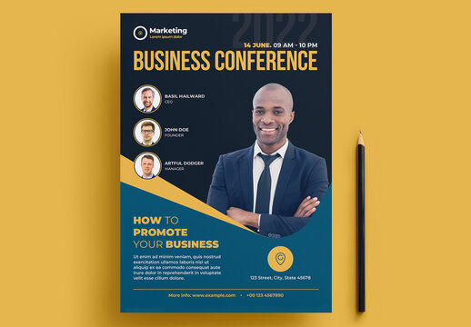 Business Conference Flyer Layout with Yellow Accents