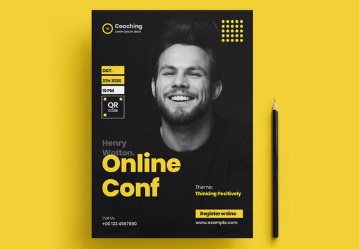 Online Conference Flyer Layout with Yellow Accents
