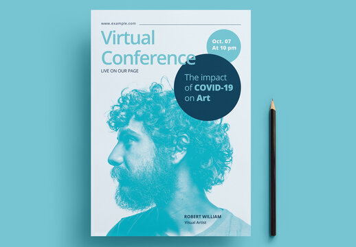 Virtual Conference Flyer Layout with Cyan Accents