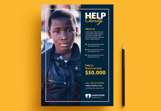 Help Charity Flyer Layout with Yellow Accents