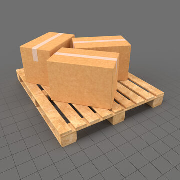 Cardboard boxes on wood pallet
